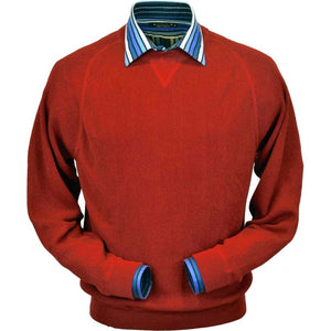 Baby Alpaca 'Links Stitch' Sweatshirt-Style Crew Neck Sweater in Wisconsin Red by Peru Unlimited