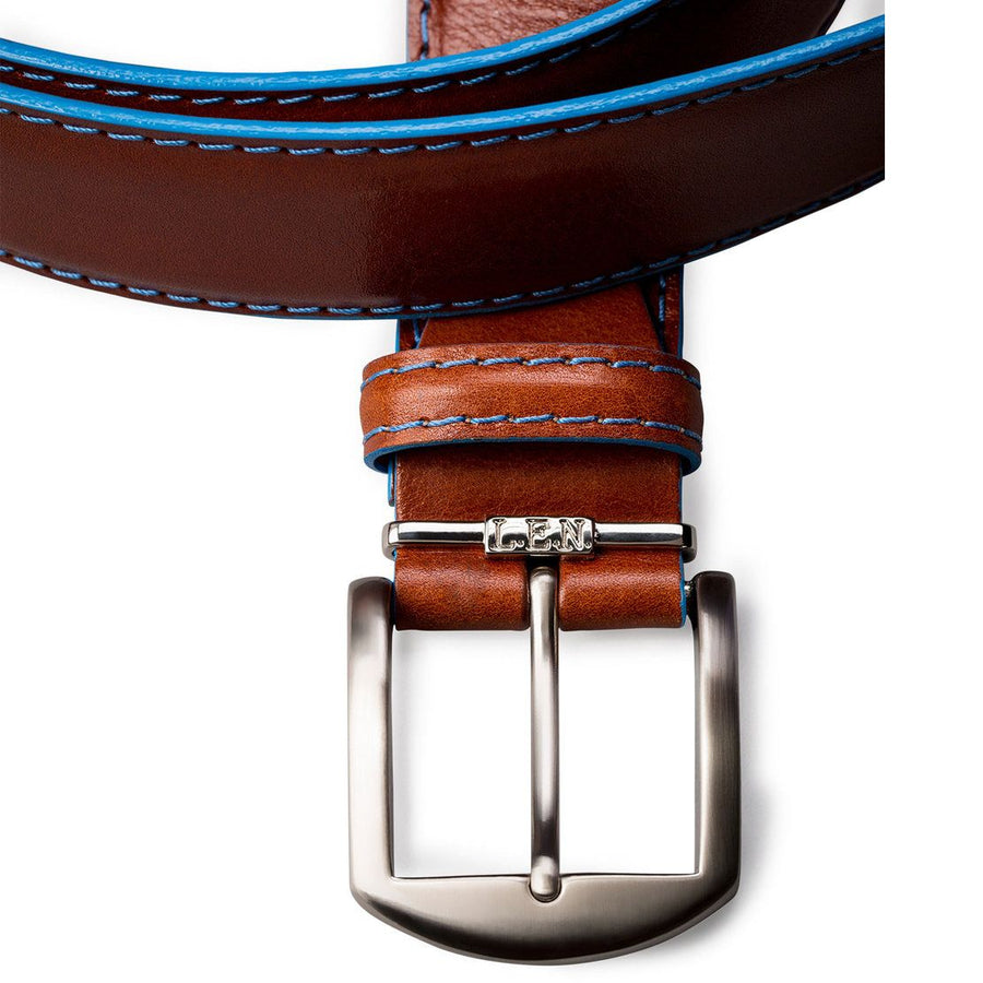 Italian Calf Belt in Cognac with Denim Stitching by L.E.N. Bespoke