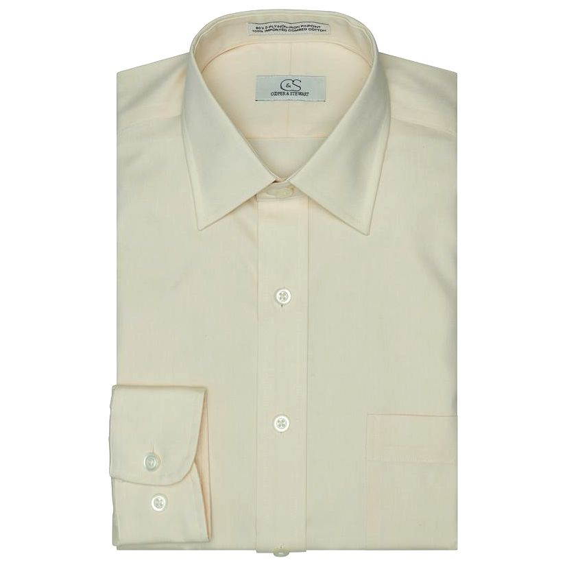 The Classic Ecru - Wrinkle-Free Pinpoint Cotton Dress Shirt by Cooper & Stewart