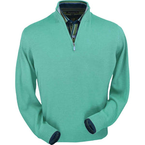 Royal Alpaca Half-Zip Mock Neck Sweater in Aqua Heather by Peru Unlimited