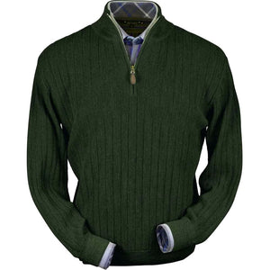 Baby Alpaca 'Links Stitch' Half-Zip Mock Neck Sweater in Olive Heather by Peru Unlimited