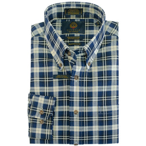 Navy, Indigo, and Cream Plaid Cotton and Wool Blend Button-Down Shirt by Viyella