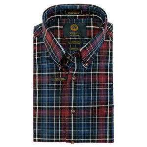 Maroon and Blue Plaid Cotton and Wool Blend Button-Down Shirt by Viyella