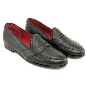 Barney Deerskin Penny Loafer in Black by Alan Payne Footwear
