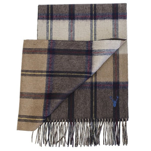 Wool and Cashmere 'Plaid to Solid' Double-Faced Scarf in Brown by Viyella