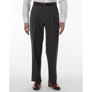 Super 120s Wool Gabardine Comfort-EZE Trouser in Medium Grey (Manchester Pleated Model) by Ballin
