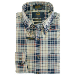 Cream, Blue, and Rust Plaid Cotton and Wool Blend Button-Down Shirt by Viyella