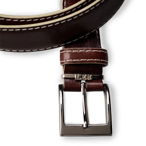 French Calf Belt in Chocolate with Beige Stitching by L.E.N. Bespoke