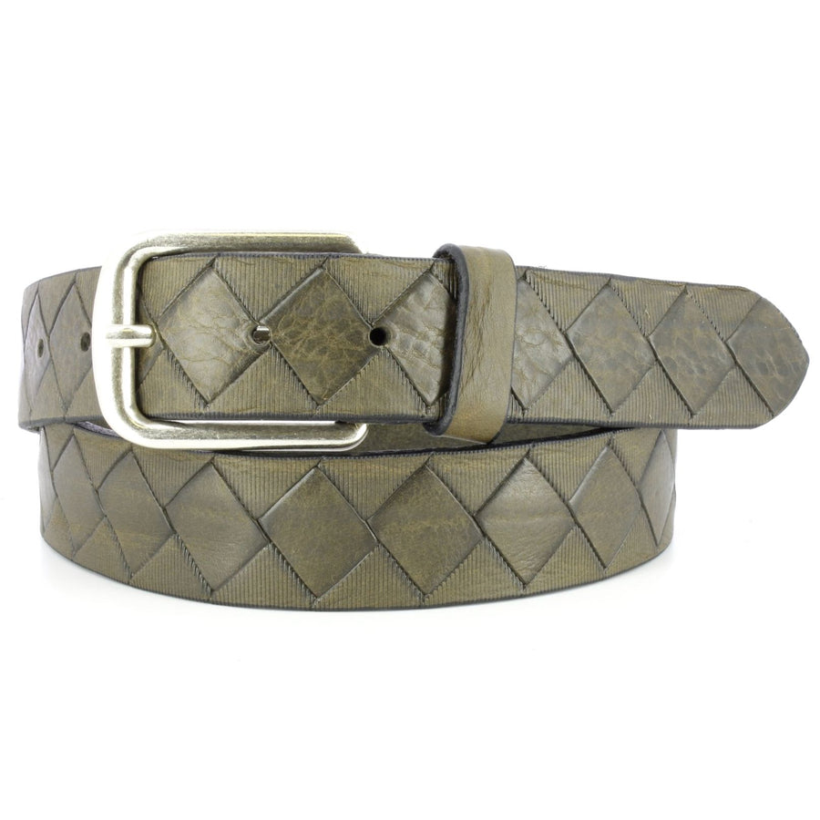 'Dino' Basketweave Embossed Italian Leather Belt in Grey by Remo Tulliani