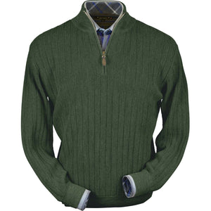Baby Alpaca 'Links Stitch' Half-Zip Mock Neck Sweater in Green Leaf Heather by Peru Unlimited
