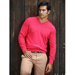 Royal Alpaca V-Neck Sweater in Red Coral Heather by Peru Unlimited