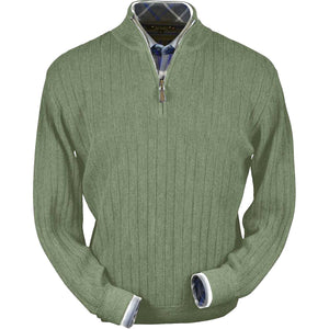 Baby Alpaca 'Links Stitch' Half-Zip Mock Neck Sweater in Light Sage by Peru Unlimited