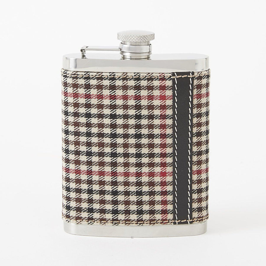 Stainless Steel Flask with Plaid Cotton Tattersall Cover by Baekgaard