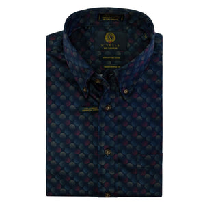 Navy Multi Dot Cotton Button-Down Shirt by Viyella