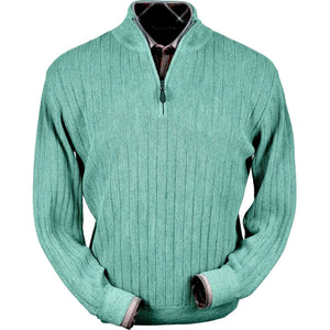 Baby Alpaca 'Links Stitch' Half-Zip Mock Neck Sweater in Aqua Heather by Peru Unlimited