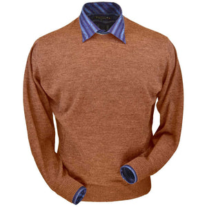 Royal Alpaca Crew Neck Sweater in Brick Heather by Peru Unlimited