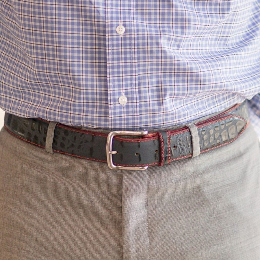 Travis Crocodile Grain Leather Belt in Navy with Red Contrast Stitching by T.B. Phelps