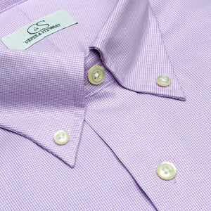 The Aberdeen - Wrinkle-Free Mini Houndstooth Cotton Dress Shirt with Button-Down Collar in Lavender by Cooper & Stewart