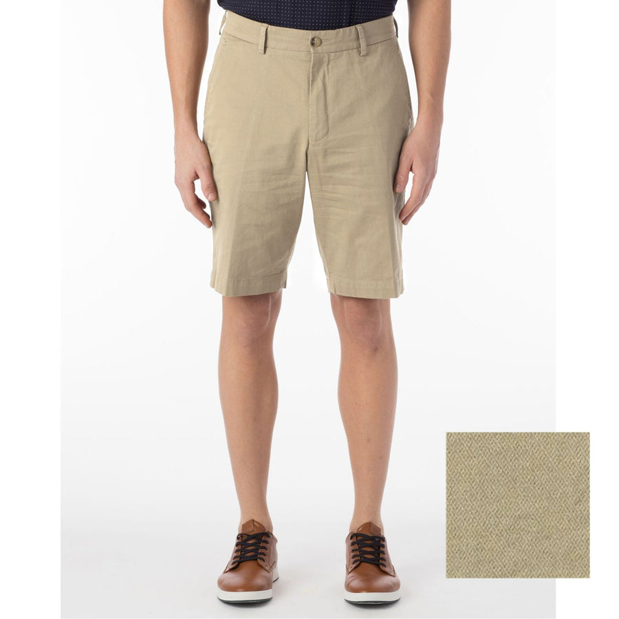 Broken Twill Stretch Cotton Shorts in Tan by Ballin