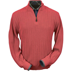 Baby Alpaca 'Links Stitch' Half-Zip Mock Neck Sweater in Cayenne Red Heather by Peru Unlimited