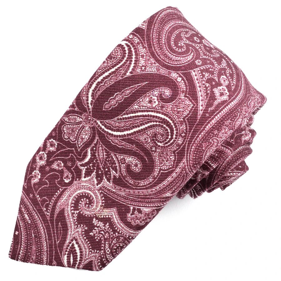 Bordeaux and White Paisley Printed Mogador Silk and Cotton Tie by Dion Neckwear