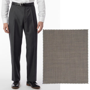 Sharkskin Super 120s Worsted Wool Comfort-EZE Trouser in British Tan (Manchester Pleated Model) by Ballin
