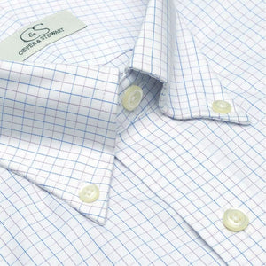The Palmer - Wrinkle-Free Tattersall Cotton Dress Shirt with Button-Down Collar in Blue and Lavender by Cooper & Stewart