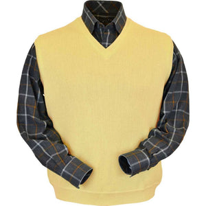 Baby Alpaca 'Links Stitch' V-Neck Sweater Vest in Yellow by Peru Unlimited