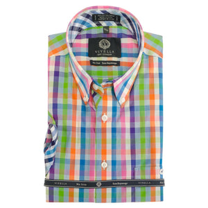 Green, Orange, and Blue Check Short Sleeve Cotton Wrinkle-Free Sport Shirt by Viyella