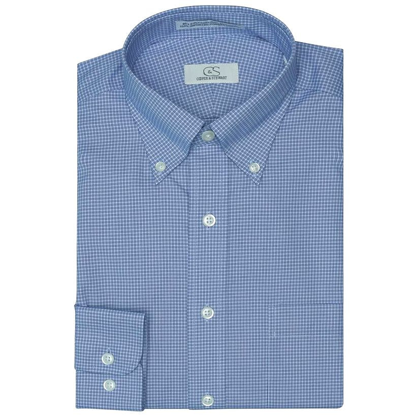 The Branson - Wrinkle-Free Double Line Check Cotton Dress Shirt with Button-Down Collar in Blue by Cooper & Stewart