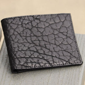 Bozeman Billfold Wallet in Black Tumbled Bison Leather by T.B. Phelps