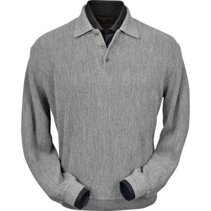 Baby Alpaca 'Links Stitch' Polo Style Sweater in Silver Grey Heather by Peru Unlimited