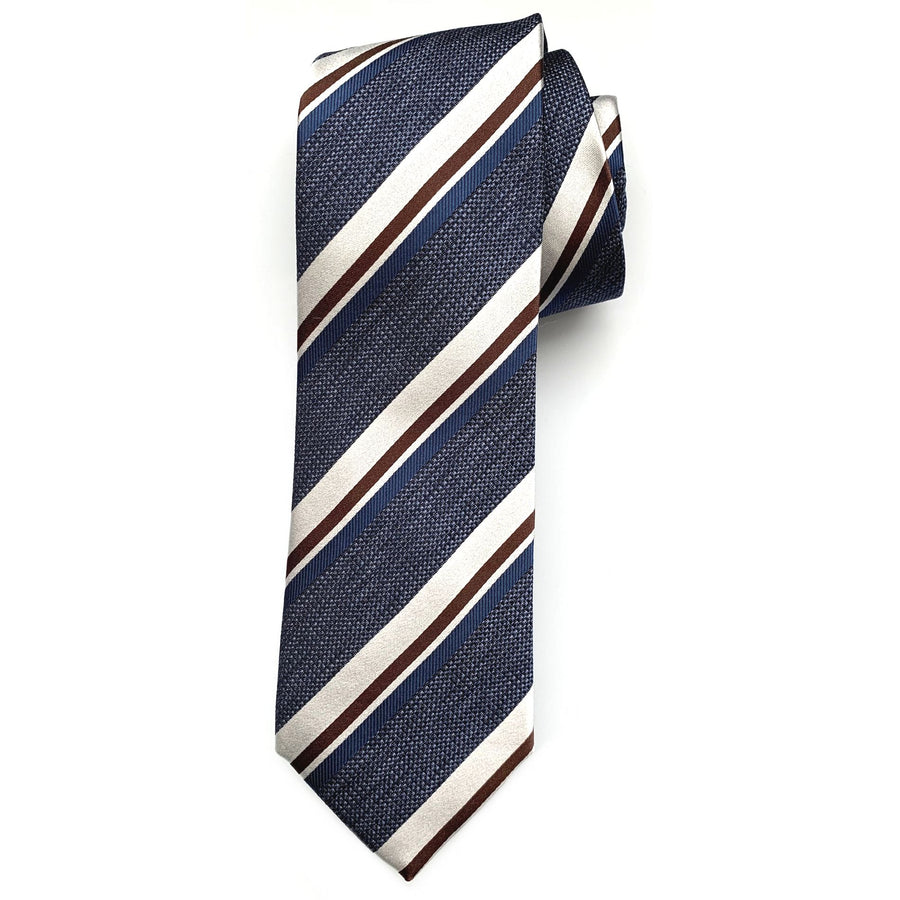 Blue, Brown, and Silver Multi-Textured Stripe Woven Silk Tie by Bruno Marchesi