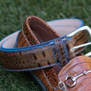 Travis Crocodile Grain Leather Belt in Briar with Denim Contrast Stitching by T.B. Phelps