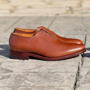 Hickory Wholecut Oxford Shoe in Cognac Brown by Armin Oehler