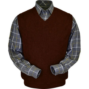 Baby Alpaca 'Links Stitch' V-Neck Sweater Vest in Wine Heather by Peru Unlimited