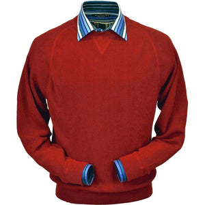 Baby Alpaca 'Links Stitch' Sweatshirt-Style Crew Neck Sweater in Rouge Red by Peru Unlimited
