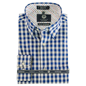 Blue and White Check Cotton Wrinkle-Free Button-Down Shirt (Size Small) by Viyella