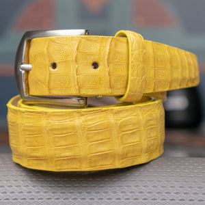Genuine Caiman Crocodile Belt in Yellow by L.E.N. Bespoke