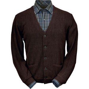Baby Alpaca 'Links Stitch' V-Neck Cardigan Sweater in Dark Brown Heather by Peru Unlimited