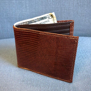 Genuine Lizard Billfold Wallet in Brown by Torino Leather