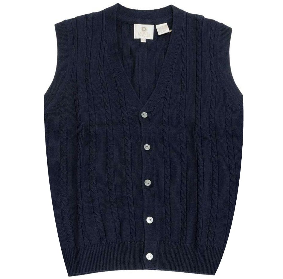c90647b3dc Extra Fine  Zegna Baruffa  Merino Wool Button-Front Cable Knit Sleeveless  Sweater Vest in Navy by Viyella