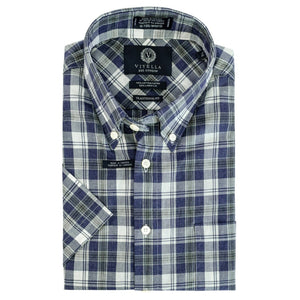 Blue and Grey Plaid Cotton and Linen Short Sleeve Button-Down Shirt by Viyella