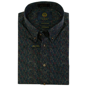 Black Multi Feather Pattern Cotton Button-Down Shirt by Viyella