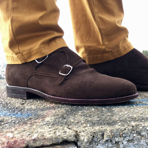Charleston Double Monk Strap Shoe in Well-Bred Brown Suede by Armin Oehler
