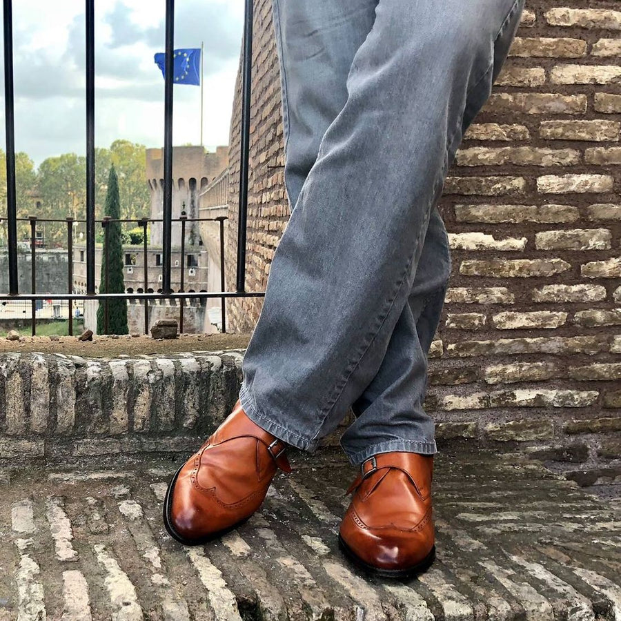 Richmond Monk Strap Wingtip in Golden Oak by Armin Oehler