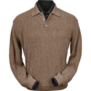 Baby Alpaca 'Links Stitch' Polo Style Sweater in Taupe Heather by Peru Unlimited