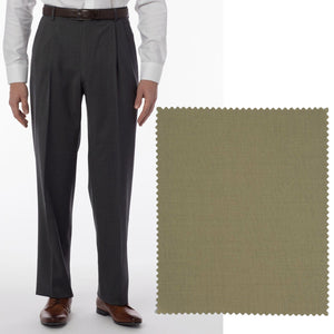 Super 120s Wool Gabardine Comfort-EZE Trouser in British Tan (Manchester Pleated Model) by Ballin
