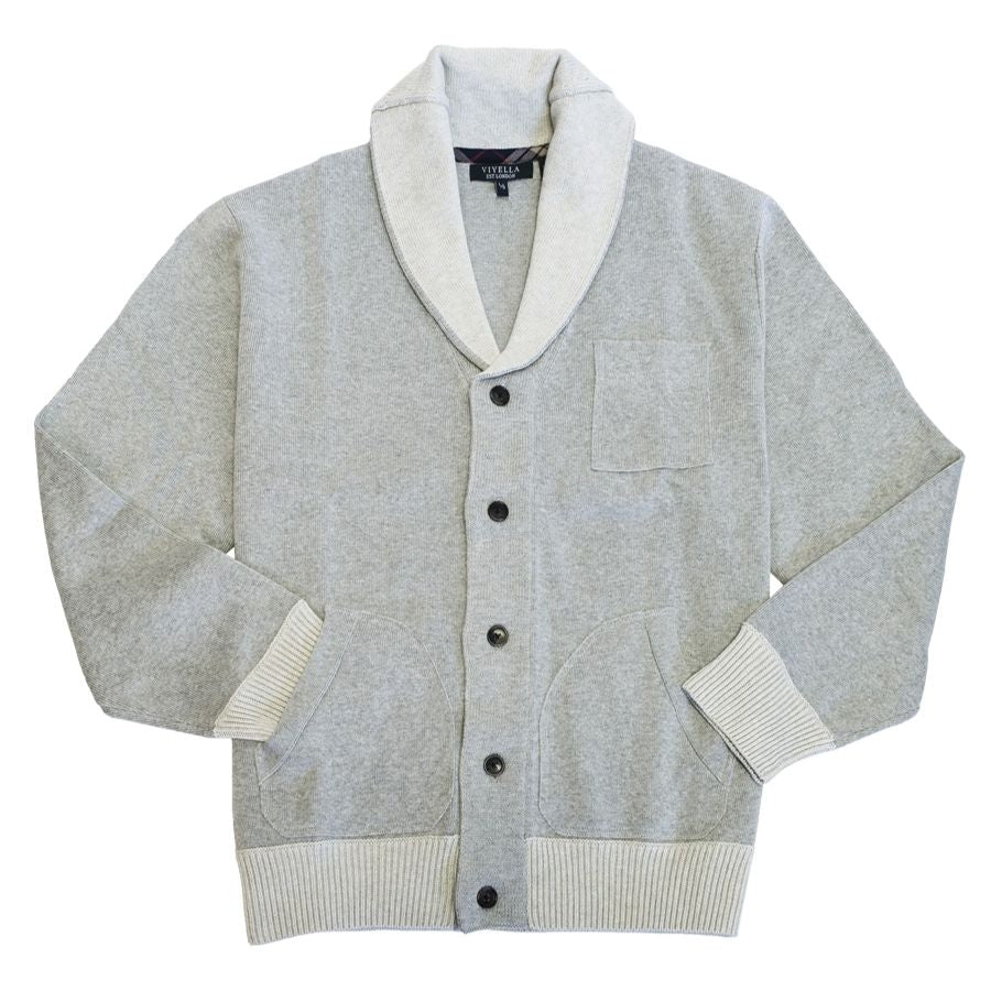 Cotton Shawl Collar Two-Tone Button-Front Cardigan Sweater in Grey by Viyella