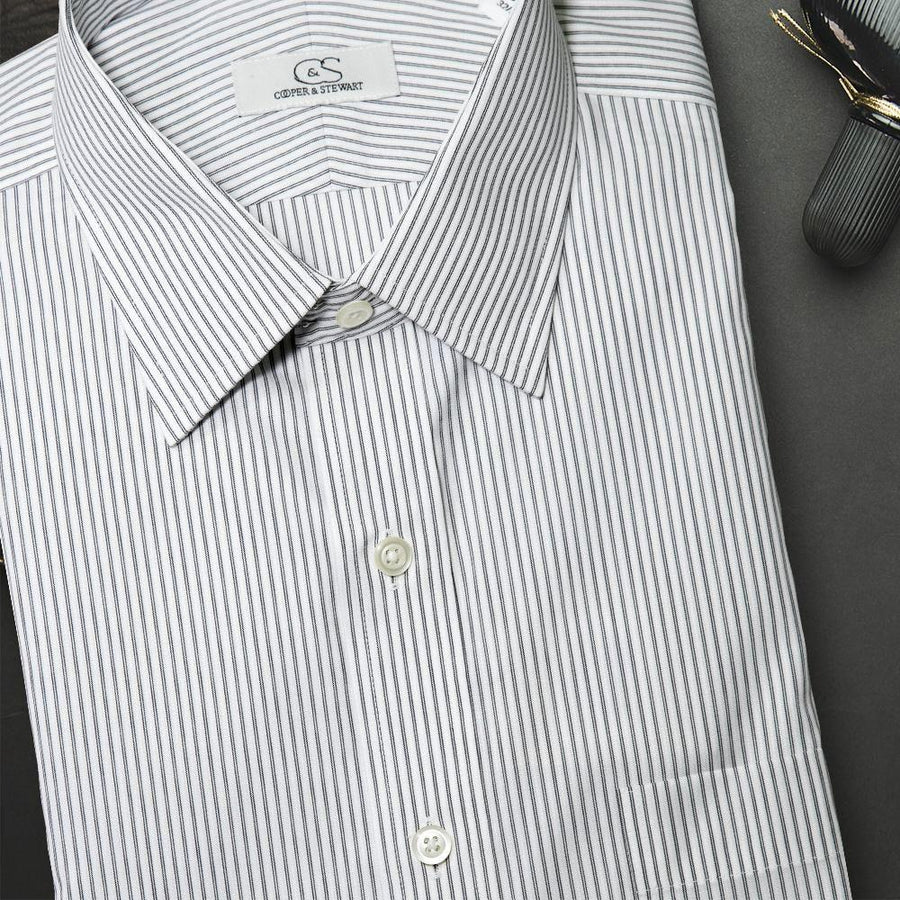 The Franklin Black - Wrinkle-Free Satin Stripe Cotton Dress Shirt by Cooper & Stewart